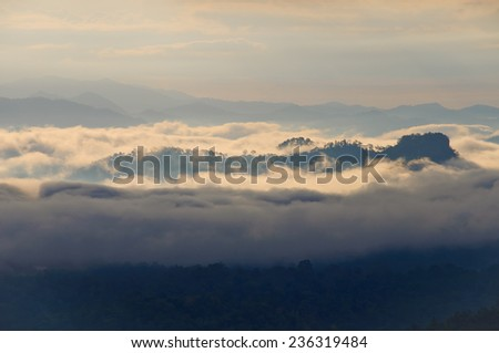 Early morning fog and cloud mountain - stock photo