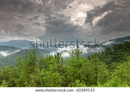 Early morning fog and cloud mountain valley landscape. Great Smoky Mountain National Park, Tennessee, USA - stock photo