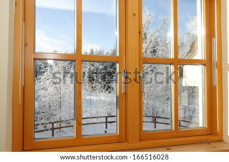 Early morning frosty winter view through a window.