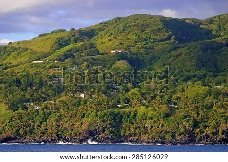 Early morning in Adamstown on Pitcairn Island, South Pacific.