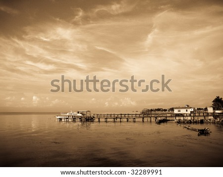 Early Morning in Antique Light at Ambergris Caye, Belize.