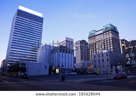 Early Morning in downtown Memphis, Tennessee, USA. - stock photo
