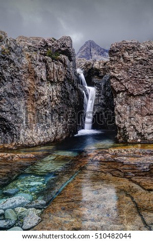 Early morning in Fairy Pools, Glen Brittle, Isle of Skye, Inner Hebrides, Highlands, Scotland