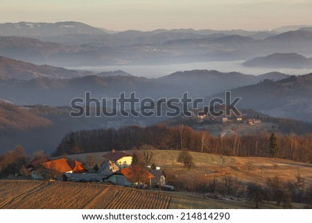 Early morning in hilly countryside, Slovenia