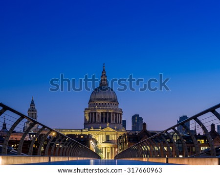 Early morning in London, with a quiet St Paul's cathedral