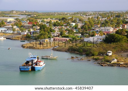 Early Morning in Port of Antigua - stock photo