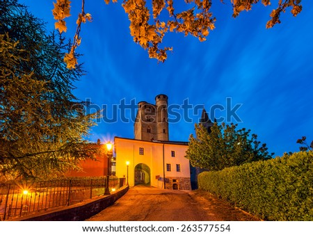 Early morning in small italian town of Serralunga d'Alba in Piedmont, Northern Italy. - stock photo