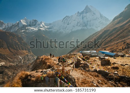 Early morning in the Annapurna base camp - stock photo