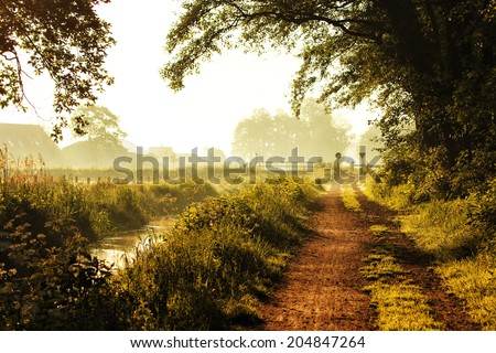 Early morning in the Netherlands - stock photo