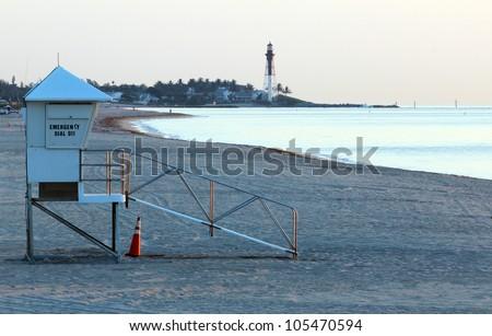 Early morning lifeguard tower on Pompano beach - stock photo