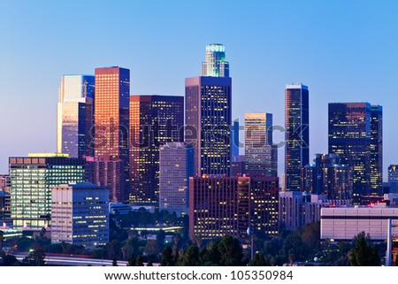 Early morning light on the Los Angeles skyline. - stock photo