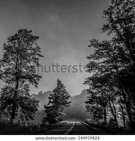 early morning nature on blue ridge parkway - stock photo