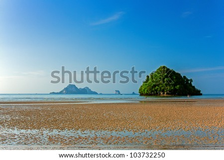 Early morning on the beach in law tide. This photograph was taken in Krabi province of Thailand on the shore of Andaman Sea. - stock photo