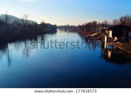 Early morning on Traun River, Wels, Austria