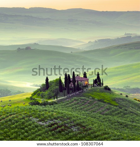Early morning on Tuscany, countryside, Italy - stock photo