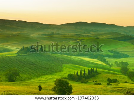 Early morning on Tuscany, countryside, Italy