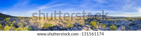Early morning panoramic view of the Chihuahuan Desert in Big Bend National Park, USA - stock photo