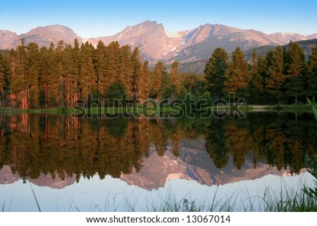 Early morning reflection on Sprague Lake in Rocky Mountain National Park