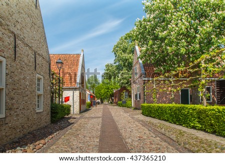 Early morning street view of historic buildings and roads in historic fortress town of Bourtange in the province of Groningen in Netherlands