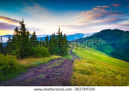 Early morning summer scene in the Carpathian mountains. Lisniv ridge, few minuter before sunrise, ukraine, Europe. - stock photo