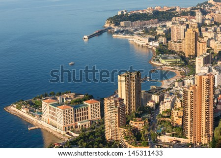 Early morning sun rise over Monte Carlo in Monaco
