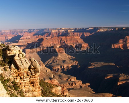 Early morning sunlight and shadow in the Grand Canyon