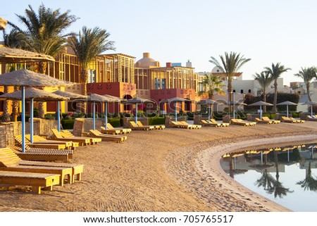 Early morning sunlight, empty beach waiting for tourists, El Gouna resort, Red Sea, Egypt