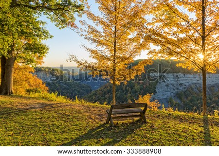 Early Morning Sunrise At Letchworth State Park In New York - stock photo