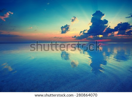 Early morning , sunrise over sea - stock photo