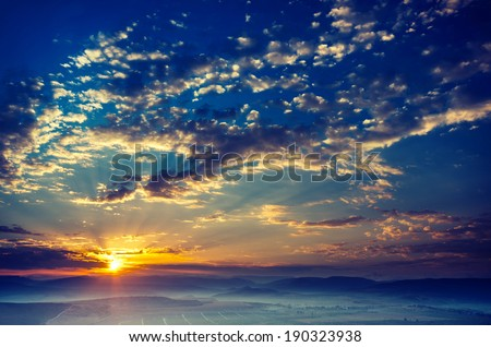 Early morning, the sun rises, the fog. Vintage picture - stock photo