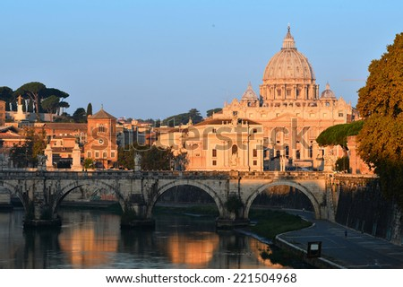 Early morning view at St. Peter's cathedral in Rome, Italy - stock photo