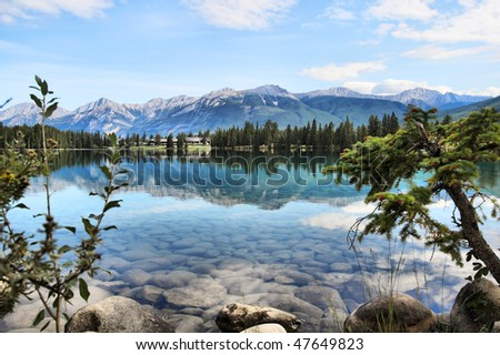Early morning view of lake Beauvert in Jasper Canada