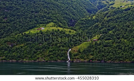 Early morning view of small remote farms in the beautiful Geiranger Fiord in Norway
