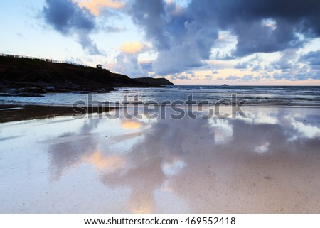 Early morning view of the beach at Polzeath, England