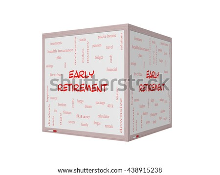 Early Retirement Word Cloud Concept on a 3D Whiteboard with great terms such as investments, budget, downsize and more. - stock photo