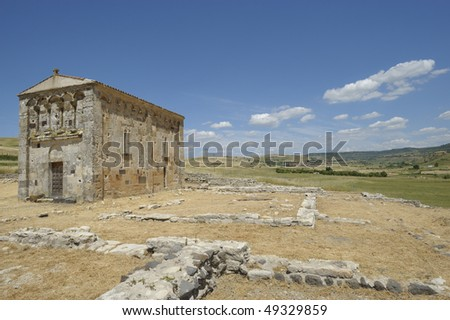 early Roman church of S. Nicola trullas sec. XI, with the remains of a convent of Camaldolese, a few kilometers from the village of Semestene, Sassari Sardinia, Italy