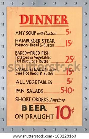 Early 1900s Dinner Menu Listing Souphamburgersteakvegetablessaladsand