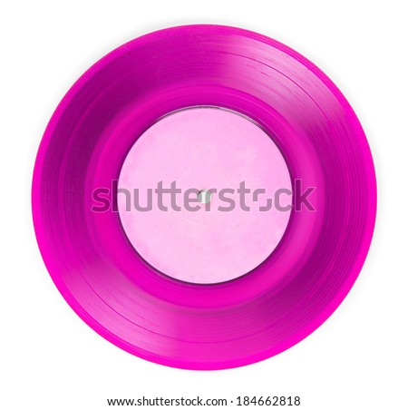 Early 1970s See through pink single EP record or analog disc ( 45 rpm / 7 inch), isolated on white.  - stock photo