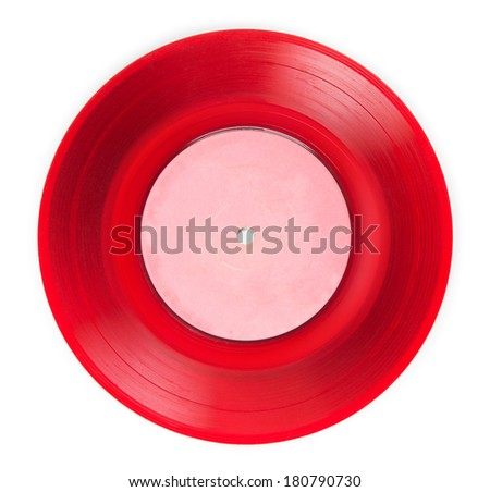 Early 1970s See through red single EP record or analog disc ( 45 rpm / 7 inch), isolated on white. - stock photo