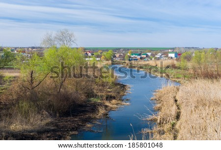 Early spring landscape with Ukrainian river Sura near Dnepropetrovsk city - stock photo