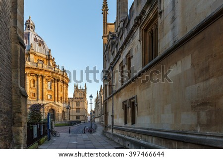 Early spring morning in Oxford city center - stock photo