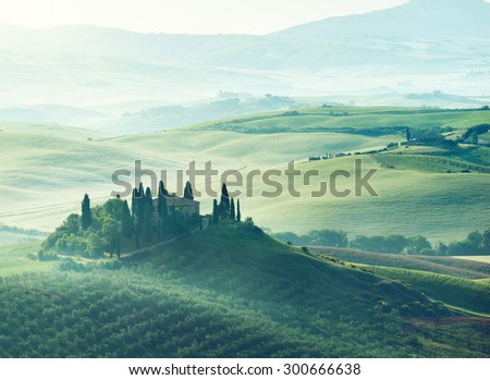 Early spring morning in Tuscany, Italy - stock photo