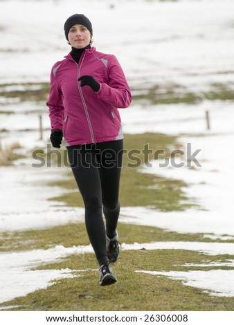 Early spring running - stock photo