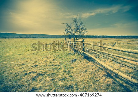 Early spring rural landscape, pasture with dry grass, wooden fence, vintage photo - stock photo
