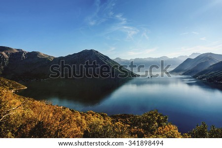 Early sunrise in Boka Bay, Perast, Montenegro - stock photo