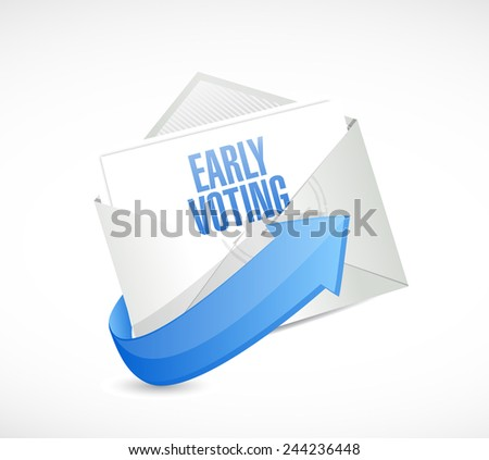 early voting envelope mail illustration design over a white background - stock photo