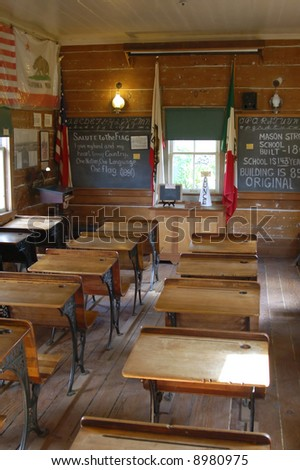Early western American schoolhouse; Old Town State Historic Park; Old Town; San Diego, California - stock photo