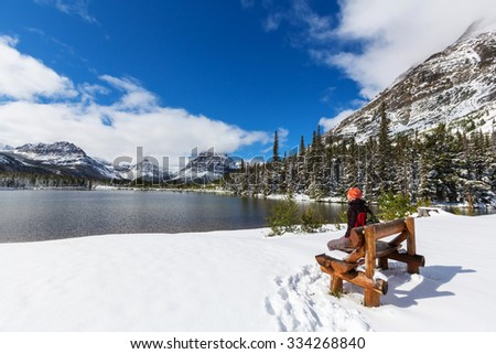 Early winter in Glacier National Park, Montana, USA - stock photo