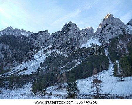 early winter trekking in beautiful salzkammergut in austria