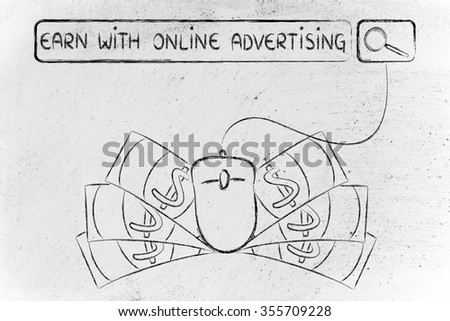 earn with online advertising: web search bar with computer mouse and cash - stock photo